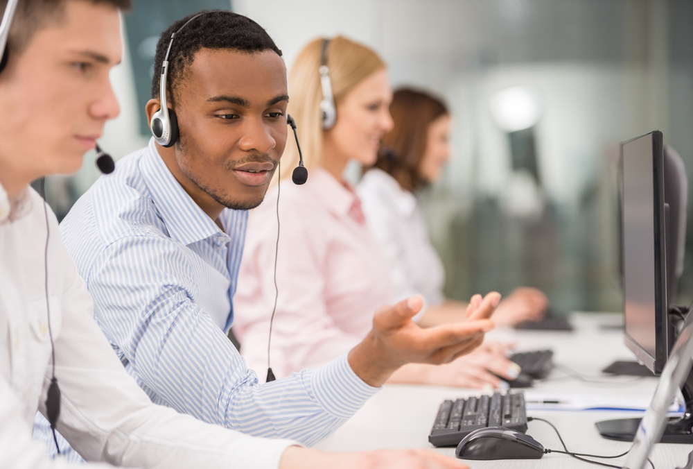 Image of call center operators servicing customers